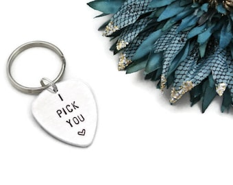I Pick You Guitar Pick Keychain | Personalized Guitar Pick | Groom Gift | Musician Gift | Anniversary Gifts For Men