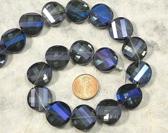 8 Twist Coin Beads, Electric Purple, Blue Iris, 20mm, Faceted Angelic Crystal Beads ( C129)