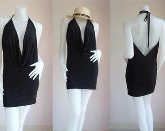 Black halter backless mini short dress
