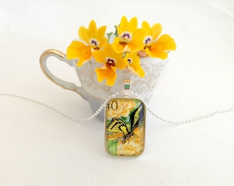 yellow butterfly necklace, vintage postage stamp necklace, unique gifts for women, butterfly jewelry