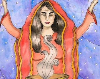 Pagan Art Print Priestess Goddess Oracle Art Print Fantasy Art Mystical Art Divine Feminine Sacred Spiritual Art Pagan Mythology