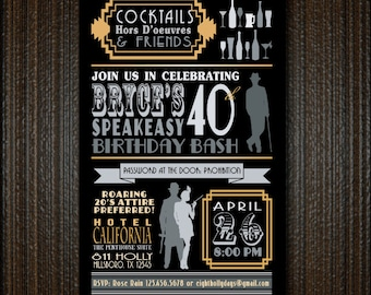 Roaring 20s Guys Gals Gangsters Flappers Invitation