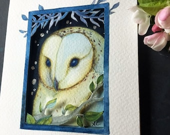 ACEO, original tiny paper cut painting  by Amanda Clark. Painting no 112.  owl, decorative art