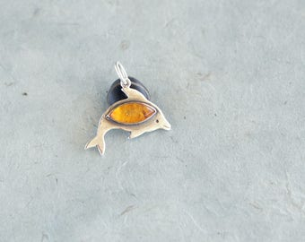 Amber pendant, Crystal pendant, Dolphin necklace, Dolphin gift, For her