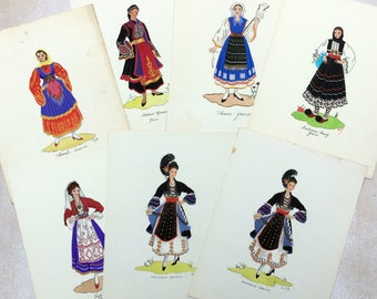 Hand painted traditional Greek costumes. Vintage hand painted wall art. Seven to select from.