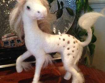 Unicorn in carded wool needle felted