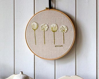 Hoop Art Embroidery Seed Heads Picture Green