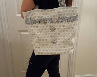 Tote bag - steam punk bag - designer bag - clocks - hearts - fabric reusable bag- one only made - craft bag - holiday bag - shopping bag