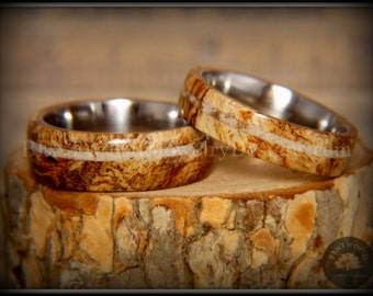 Bentwood Rings - Maple Burl Wooden Rings on Surgical Steel Metal Core with Sandstone Inlay