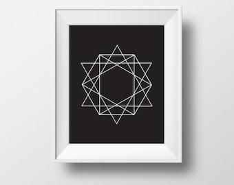 Geometric Triangle Print, Black And White Print Art, Modern Art Print, Black And White print,Geometric Print Art