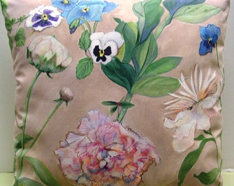 Peonies & Pansies - Hand Painted Pillow Made to Order Spring Summer Charming English Country Decor Original Art Romantic Living