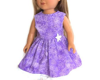 18 Inch Doll Clothes, Purple Doll Dress, Summer Doll Clothes