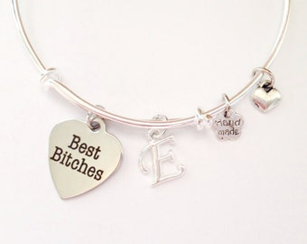 Best Bitches Bangle Charm Bracelet, Initial Silver Bangle, BFF, Handmade Bracelet
