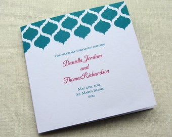 Elegant Wedding Program - Modern Vintage Ceremony Program - Indian Arch Moroccan Style - Square