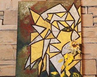Abstract Art, Lion, 'Aslan', Modern Art, Original, Handmade,Flower, 16x20, Mixed Medium, by Ebru Dinc, Free Shipping