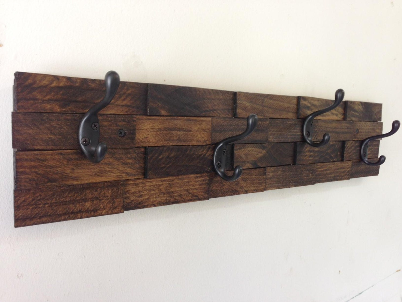 🔎zoom. rustic wood coat rack entryway storage wall coat rack