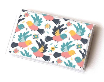 Vinyl Card Holder - Spring Birds / bird wallet, summer wallet, card case, vinyl wallet, women's wallet, small, handmade, cute wallet
