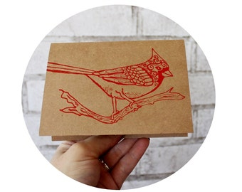 Cardinal Greeting Card, Blank Inside, Red Bird on a Branch, Hand Printed Screenprinted Card, Winter Animal, Happy Holidays, Merry Christmas