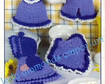 Kitchen Basics in Cotton, Potholders & Dishcloths to Crochet, 19 Excellent Designs Leisure Arts 3764 Dutch Doll Irish Rose Butterfly Gifts