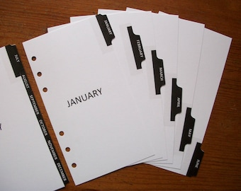 PERSONAL Size Monthly DIVIDERS - 'Black Tabs' #807 - Fits Filofax
