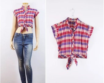 Americana Crop Top 70s vtg INDIAN gauze top Boho Hippie plaid shirt Indie Hipster 1970s DEADSTOCK India festival cropped top