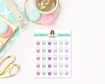Pastel coffee planner stickers