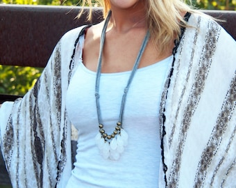 opaque white briolette with brass and gray necklace // drops of ice