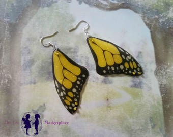 Summer yellow butterfly wing earrings