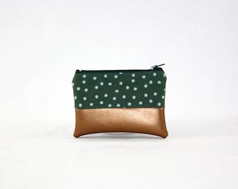 Mini bag - copper green dots, bag, cosmetic bag, purse, make-up bag, vegan, minimalist, pouch, pencil case,
