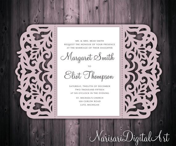 5x7'' Gate-fold Wedding Invitation Card Template Quinceanera