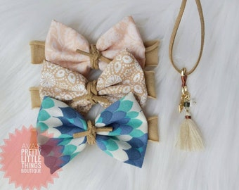 Mermaid ~ Sand Dollar ~ Moonshell ~ Sandy Shores Beach Collection ~ Fabric Tuxedo Bows ~ Vegan Suede Cord ~