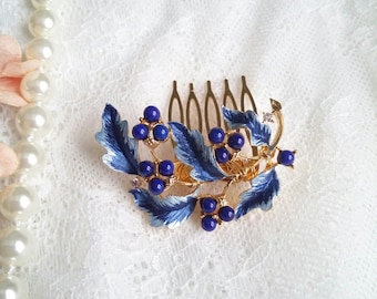 Blue Wedding Hair Comb, Royal blue Bride headpiece, vintage hair comb, blue bridal clip, brooch hair comb OOAK, gold blue hair piece