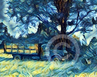 Original old truck photograph altered and printed on canvas // gifts for her // home decor // free shipping