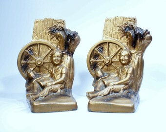 Country Themed Cast Metal Bookends