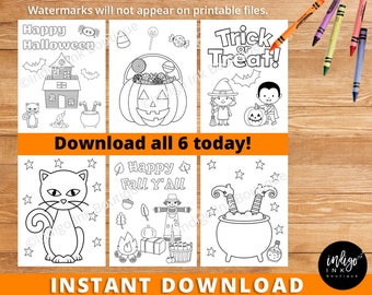 Halloween Coloring Pages | Kids Coloring INSTANT DOWNLOAD | Printable Halloween Activity Coloring Sheet | Halloween Digital Party Activity