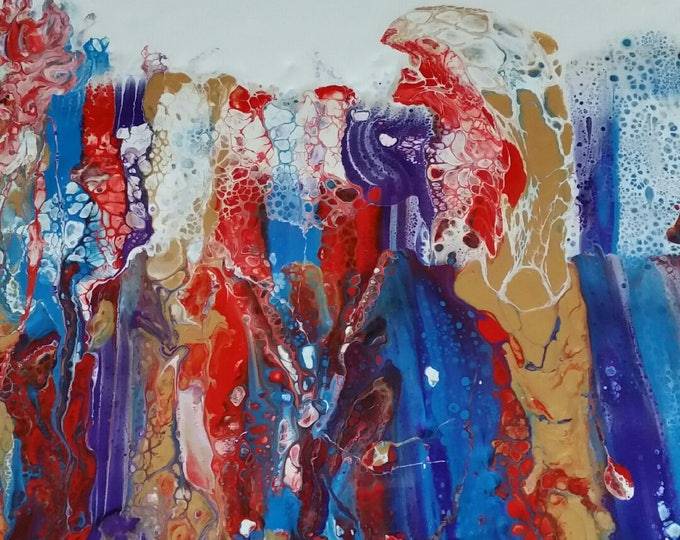 Original fluid painting on canvas - Carnivale - Blue, Red and Gold - Inspired by Thin Section Mineral Photography