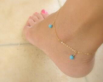 Anklet bracelet - Gold anklet - Turquoise anklet - Blue stones anklet - 14k gold filled anklet - Foot jewelry - Something blue