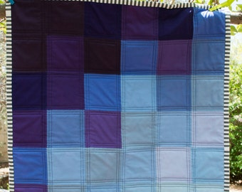Purple and Blue Ombre Color Block Mini Quilt - Lap Quilt - Baby Quilt - Play Mat - Wall Hanging