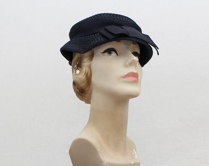 Vintage 1950s Navy Short Brim Hat - 22 Inches