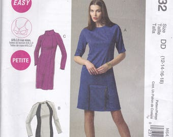 McCalls 6432 Womens Fitted Dress in 3 Variations SIze 12,14,16,18 UNCUT