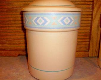 Treasure Craft Southwest   Flour Canister  Light Lavender Green Aztec Design Rare Find