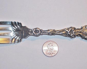 LILY Salad Fork, Individual - Lion, Pat. 1902 - Monogrammed - Sterling by Whiting -