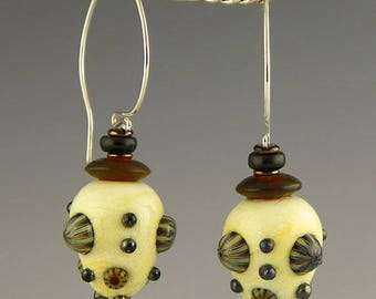 handmade glass lampwork & sterling silver wires beautiful ivory glass earrings with jet and horn accents
