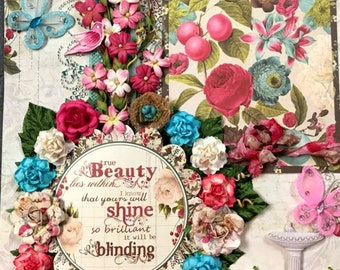 Elite4u Shabby Vintage Look Beauty Premade Page Layout For Scrapbook ALBUM Frame or Wall Art
