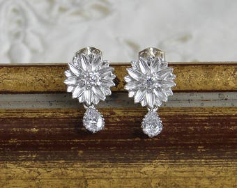 Small Daisy Earrings ~ Matte Silver ~ Small Flower Earrings ~ Silver Flower Earrings ~ Cubic Zirconia Drop ~ Flower Girl ~ Bridesmaid Gift