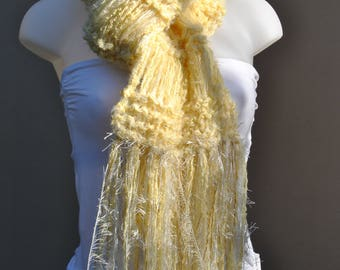 Yellow scarf, long boho scarf, soft scarf, women's hand knitted scarf, gifts for her, winter accessories, gypsy scarf