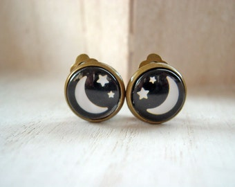 Starry Night Moon and Stars  clip earrings pretty cute black
