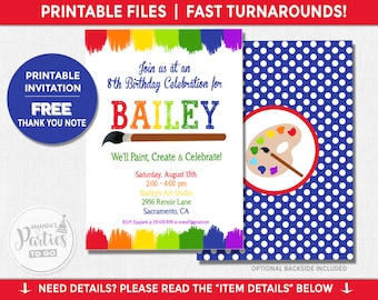 Art Party Invitation | Art Birthday Invitation | Art Party Invitation Printable | Rainbow Party | Teen Birthday | Amanda's Parties To Go