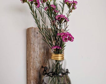 Rustic Mounted Lightbulb Vase with Metal Chain on Drift Rood