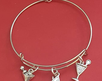 Silver Martini Themed Charm Bracelet